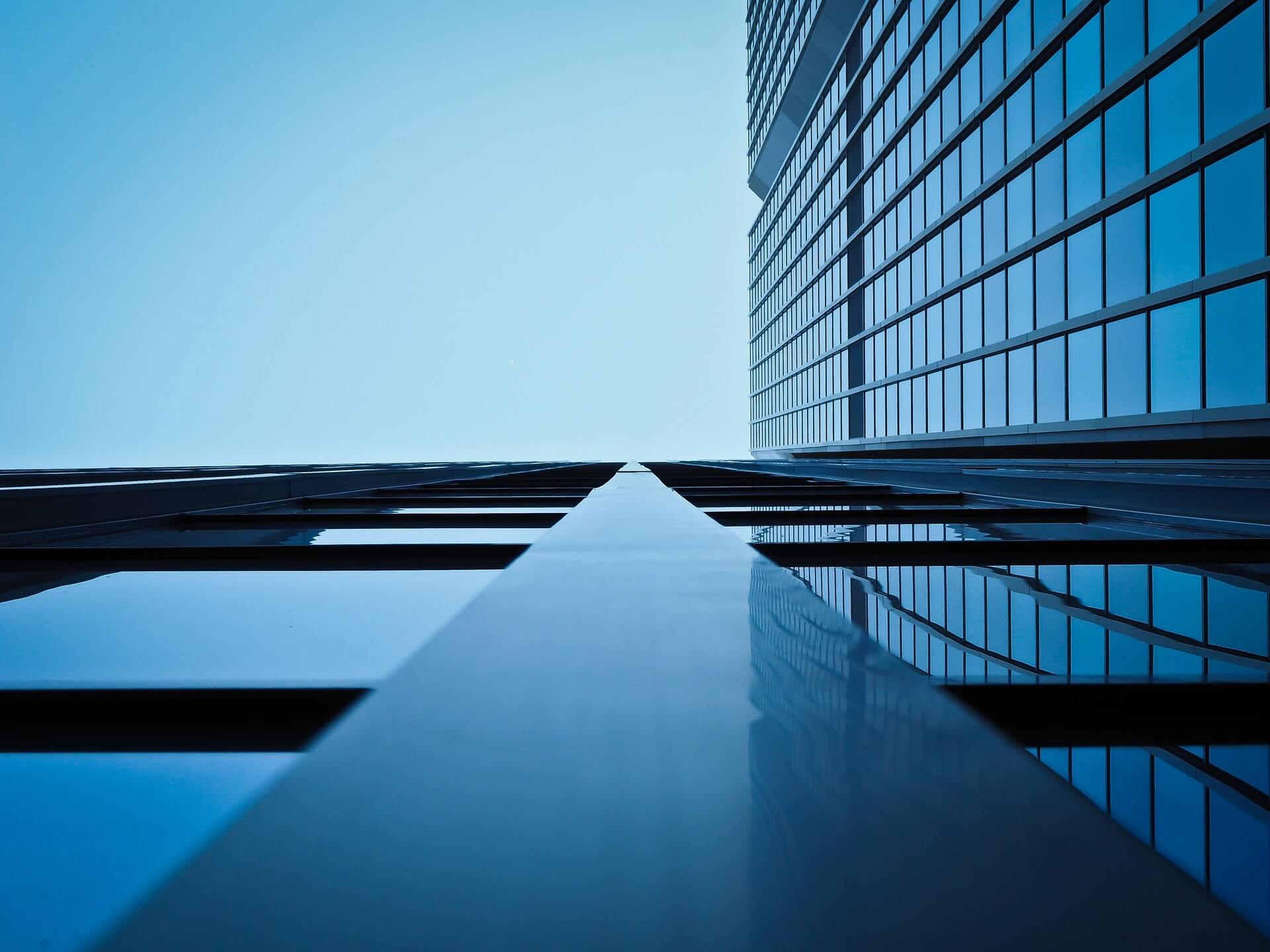 Angled view from below of an office building