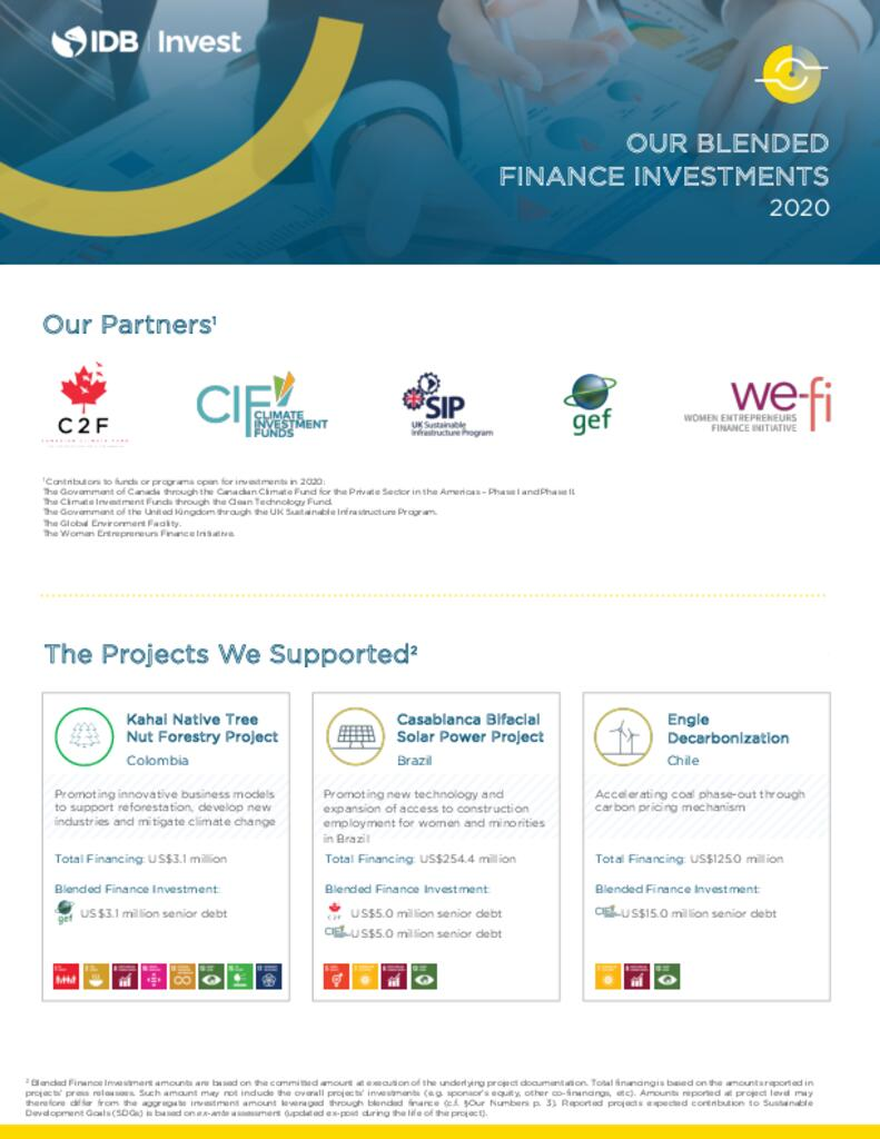 Factsheet: IDB Invest 2020 Blended Finance Investments