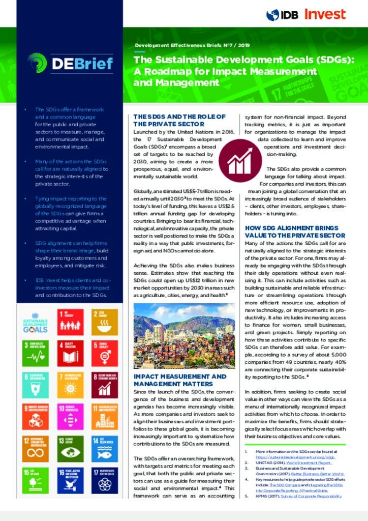 DEBrief: The Sustainable Development Goals (SDGs): A Roadmap for Impact Measurement and Management