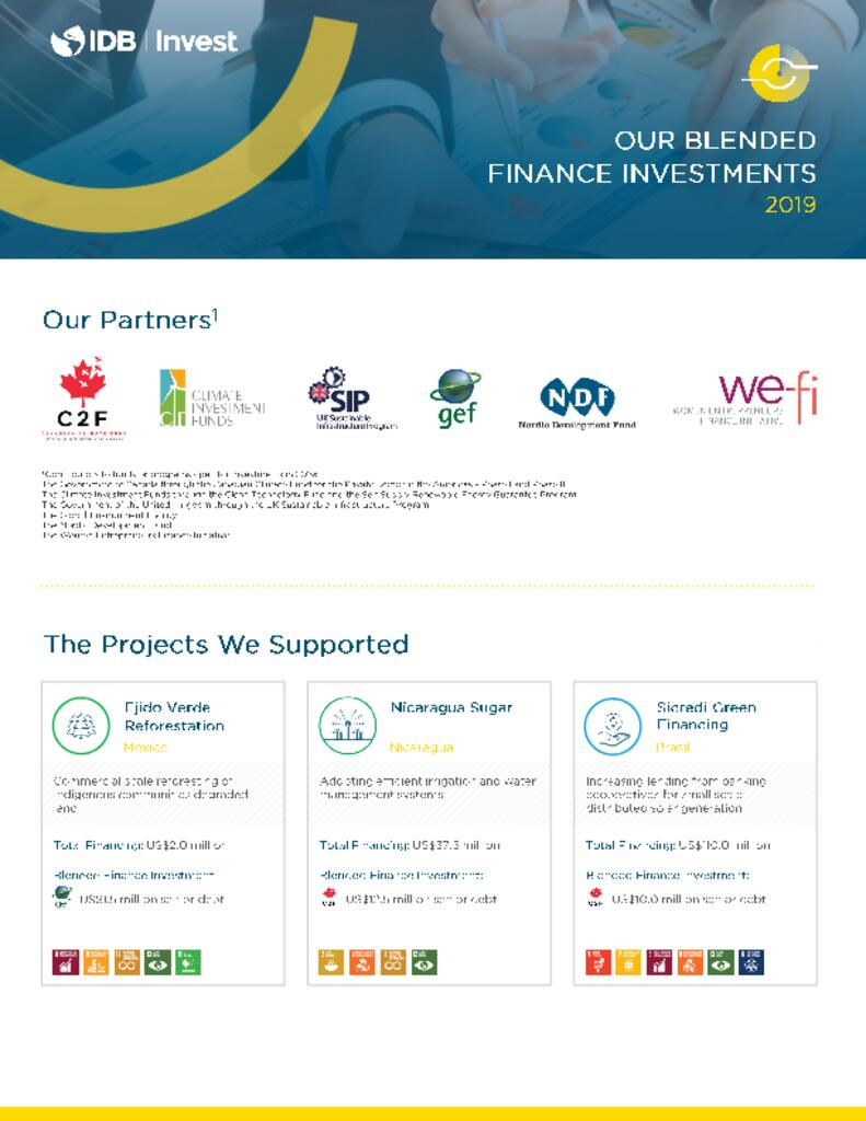 Factsheet: IDB Invest 2019 Blended Finance Investments