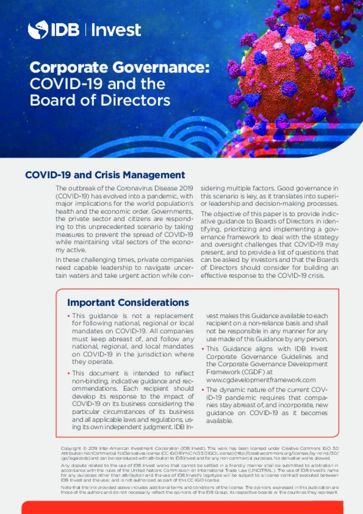 Corporate Governance: COVID-19 and the Board of Directors