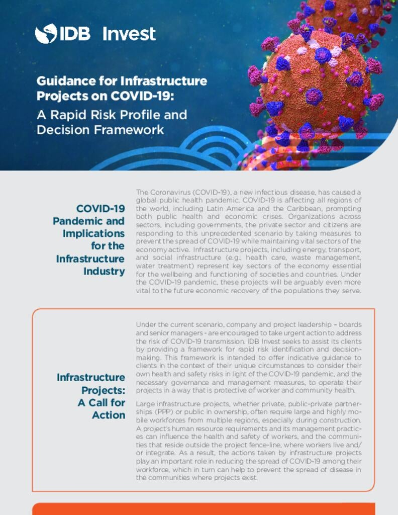 Guidance for Infrastructure Projects on COVID-19: A Rapid Risk Profile and Decision Framework